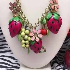 Betsey Johnson summer picnic strawberry necklace